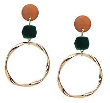Velvet Statement Studs New Season Trend Ella Jonte Long Earrings Gold Green