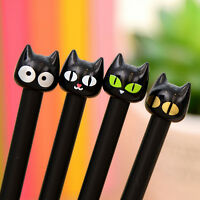4 Pcs Cute Black Cat Gel Pen Novelty Gifts School Stationery Slim Ink Pens 0.5mm