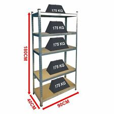 5 Tier Shelf Shelving Unit Racking Boltless Industrial Storage Shelves Large