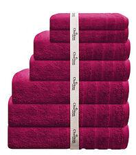 7 Pce 575Gsm Egyptian Cotton Towel Set 2 x Bath / Hand / Face Towels 1x Mat Pink