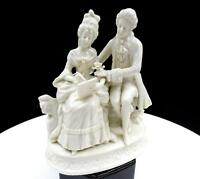 "DRESDEN GERMANY BLANC DE CHINE LETTER WRITING COURTING COUPLE 6 1/4"" FIGURINE"