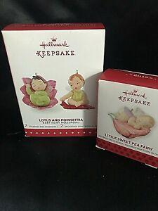 2013 Hallmark Ornament Little Sweet Pea Fairy &  2015 Lotus And Poinsettia  IB