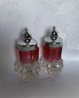 Indiana Glass Diamond Point RUBY FLASH Salt and Pepper Shaker Set