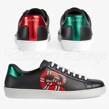 NEW GUCCI Men's Ace Kingsnake 8G Black Leather Logo Low Top Sneakers $790 Authen