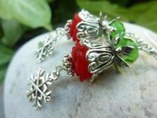 Christmas Flower Bud Crystal Dangle Earrings Handmade Costume Jewellery
