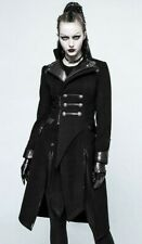 Punk Rave Y-791 Double breasted gothic military coat with vegan leather details