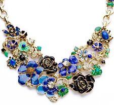 BLUE GREEN BLACK ENAMEL FLOWER Pearl Crystal Rhinestone Gold Statement Necklace