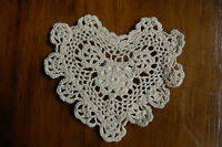 CROCHET HEART  DOILIES - Cotton ECRU - Approx  13cm across x 13cm high EACH