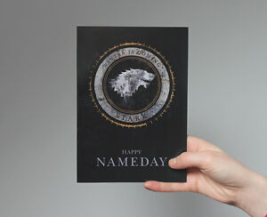 Happy Nameday Card! Game of Thrones, jon snow, George r. r. Martin, house stark