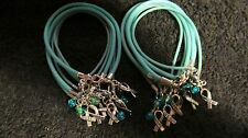 """1 Doz Teal Ovarian Cancer """"Hope"""" with Glass Bead Bracelet ***FREE SHIPPING***"""