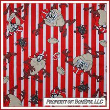 BonEful Fabric FQ Cotton VTG Taz Looney Tunes Red White Football Stripe OOP RARE