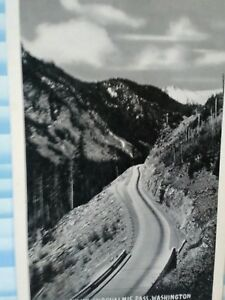 VINTAGE POST CARD AERIAL VIEW OVER SUNSET HIGHWAY SNOQUALMIE PASS WASHINGTON