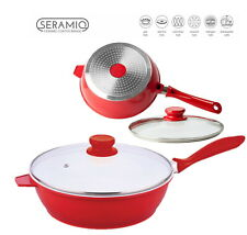 Nea 24cm SAUTE PAN Induction Gas Electric Hob Non Stick Glass Lid Deep Fry Red-W
