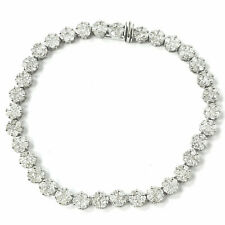 "14k White Gold Diamond Bracelet Cluster Round Brilliant Ladies 2.64ct 6.5"""