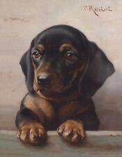 Metal Magnet Dachshund Puppy Art Dog Carl Reichert 1918 Magnet X