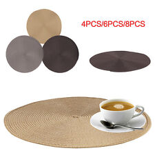 Round Placemat Jacquard Weaved Non Slip Placemats Dining Table Mats Set of 4 6 8