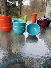 set 4 Small Bistro BOWLS Turquoise blue HOMER LAUGHLIN FIESTA WARE 22 OZ. NEW
