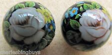 2 Japanese Tensha Beads PINK ROSE WITH FOLLIAGE ON BLACK ROUND Bead 16mm