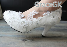 Handmade Women Embroidery White Ivory Lace Floral Bridal Wedding High Heel Shoe