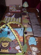 KidsLine SILLY SAFARI Crib Nursery Bedding Set 13 PC EUC Quilt Lamp Mobile Boy