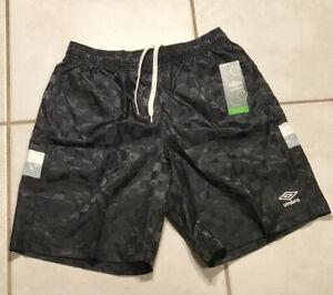 NWT UMBRO  Black Nylon Checkered Soccer Shorts With Pockets Men's XL