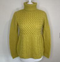 BODEN Ochre Yellow Chunky Knit Jumper Size 14 Wool Alpaca Mix Mustard High Neck