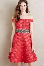 Anthropologie Moulinette Soeurs Red Fit & Flair Cocktail Dress Size 4 Minette