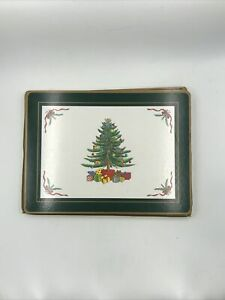 Spode Christmas Tree Corkboard Placemats Green Trim Pimpernel Set of 4