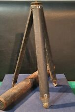 Vintage c1920's Steel Camera Tripod with 6 Drawer Legs, In Original Leather Case