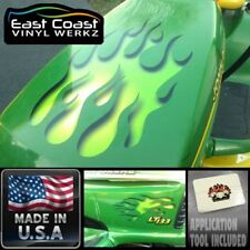 Flame decals Carved Sunken effect LIME  for John Deere riding lawn mower 3pc set