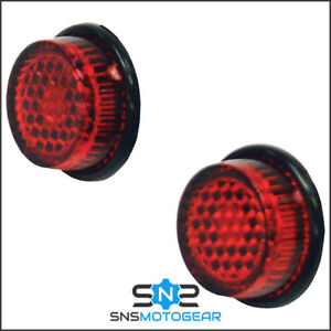 Pair of 20mm Red Number Plate MOT Self Adhesive Motorcycle Stick On Reflectors