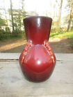 """1934 Roseville Topeo Mowa Vase 698-7"""" Rare Oxblood Red Signed/Labeled Original"""