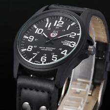 Vintage Herrenuhr Wasserdicht Date Uhr Leder Armbanduhr Sport Quartz Army Watch
