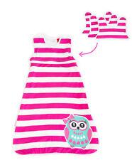 Organic Cotton Winter Spring Pink Baby Sleeping Bag Owl 6-18 months BIBS 2.5 TOG