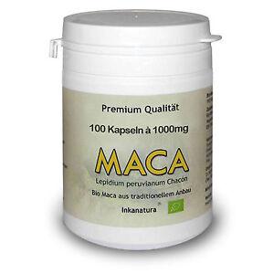 MACA KAPSELN 100 Stk. à 1000mg - BIO Maca Wurzel Pulver aus Peru -TOP