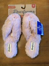 Women's Dearfoams Memory Foam Pile Thong Slippers Size 7-8 MEDIUM Dusty Pink NEW