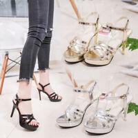Womens Stilettos High Heels Shoes Platform Ankle Strap Summer Party Sandals Pump