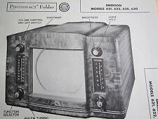 EMERSON 621, 622, 628, 630 TELEVISION TV PHOTOFACT