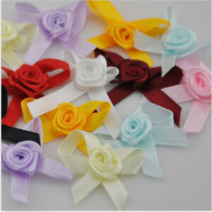 10-100pcs Satin Ribbon Flower Rose Bow sewing wedding appliques U pick