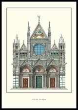 Siena Duomo poster stampa d'arte immagine con cornice in alluminio in nero 70x100cm