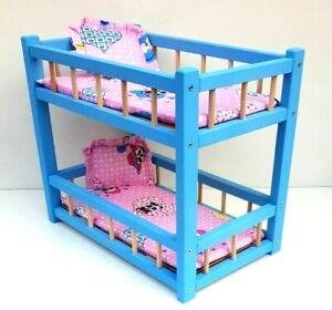 "Wooden toy bunk bed for 2 dolls 14 "" long, preschool girl's toy mattress& pillow"