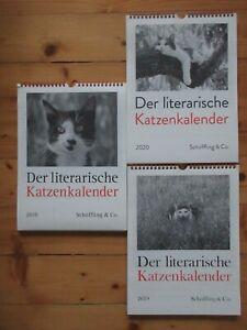3 Literarische Katzen-Kalender, 2018, 2019, 2020
