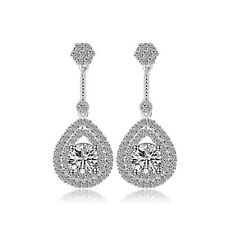 Platinum Plated AAA Cubic Zirconia Micro Paved Drop Dangle Bridal Earrings