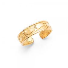 14K SOLID YELLOW GOLD Footprint Toe Ring Adjustable - Foot Feet Polished Band