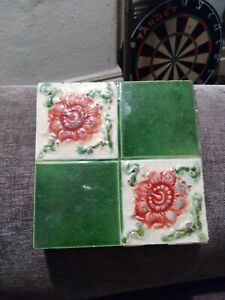 Antique Victorian Majolica Moulded Poppy Tile Circa 1880's