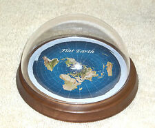 Flat Earth Map Dome Display Model - mahogany wood base, plastic dome, flat world