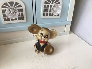 Vintage Cute Kitsch Foreign Ceramic Mouse Playing Symbols Ornament 50s/60s