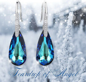 MARIANA Clear Crystal Silver Teardrop Dangle Earrings