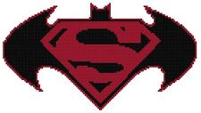 Counted Cross Stitch Pattern, Batman vs. Superman Logo #1 - Free US Shipping