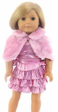 Pink Sparkle Dress, Fur Cape & Pearls fits 18 inch American Girl Doll Clothes